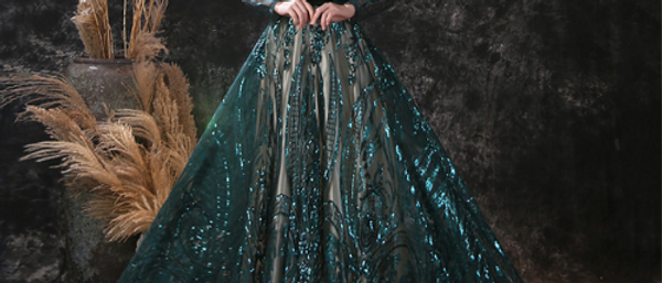 Green evening gown sequin sheer layer ball gown long sleeve prom dress