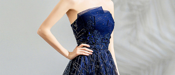 Strapless Dark Blue A Line Beaded Lace Evening gown Prom dress by Ivory Bliss