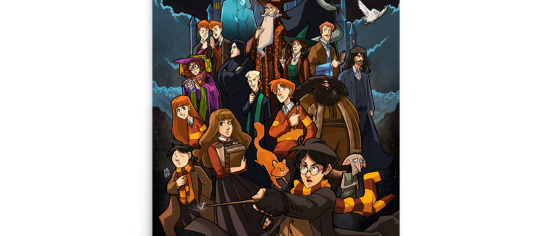 Harry Potter Cartoon Poster A4 and A3 size wall  posters Hogwarts print