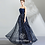 Thumbnail: Strapless Dark Blue A Line Beaded Lace Evening gown Prom dress by Ivory Bliss