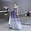 Thumbnail: Elegant Formal Spaghetti Strap Beaded Deep V-neck Sequin Blue Evening Gown