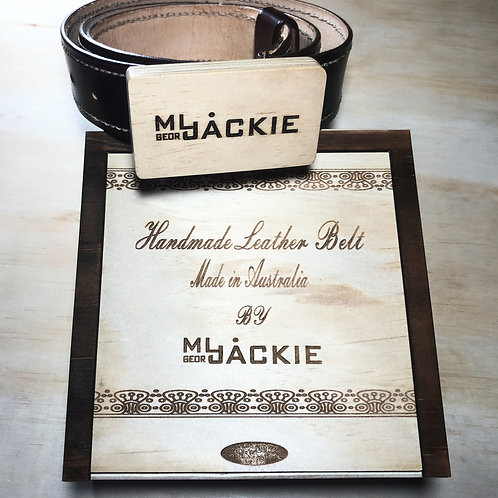Handmade Leather Belt with wooden buckle