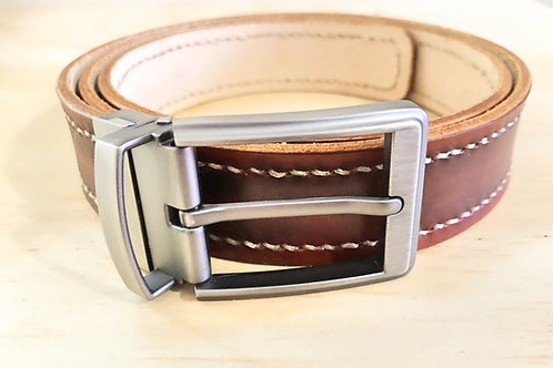 Handmade cow leather belt with stitches