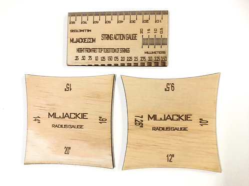 3 Wooden gauge guitar tools