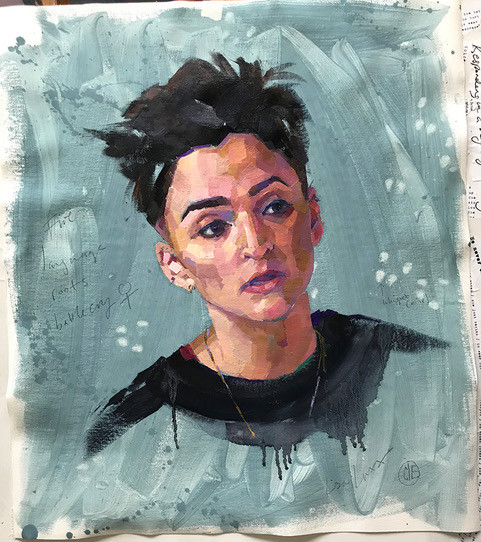 Oil sketch of Lisa Luxx, by Claire Eastgate