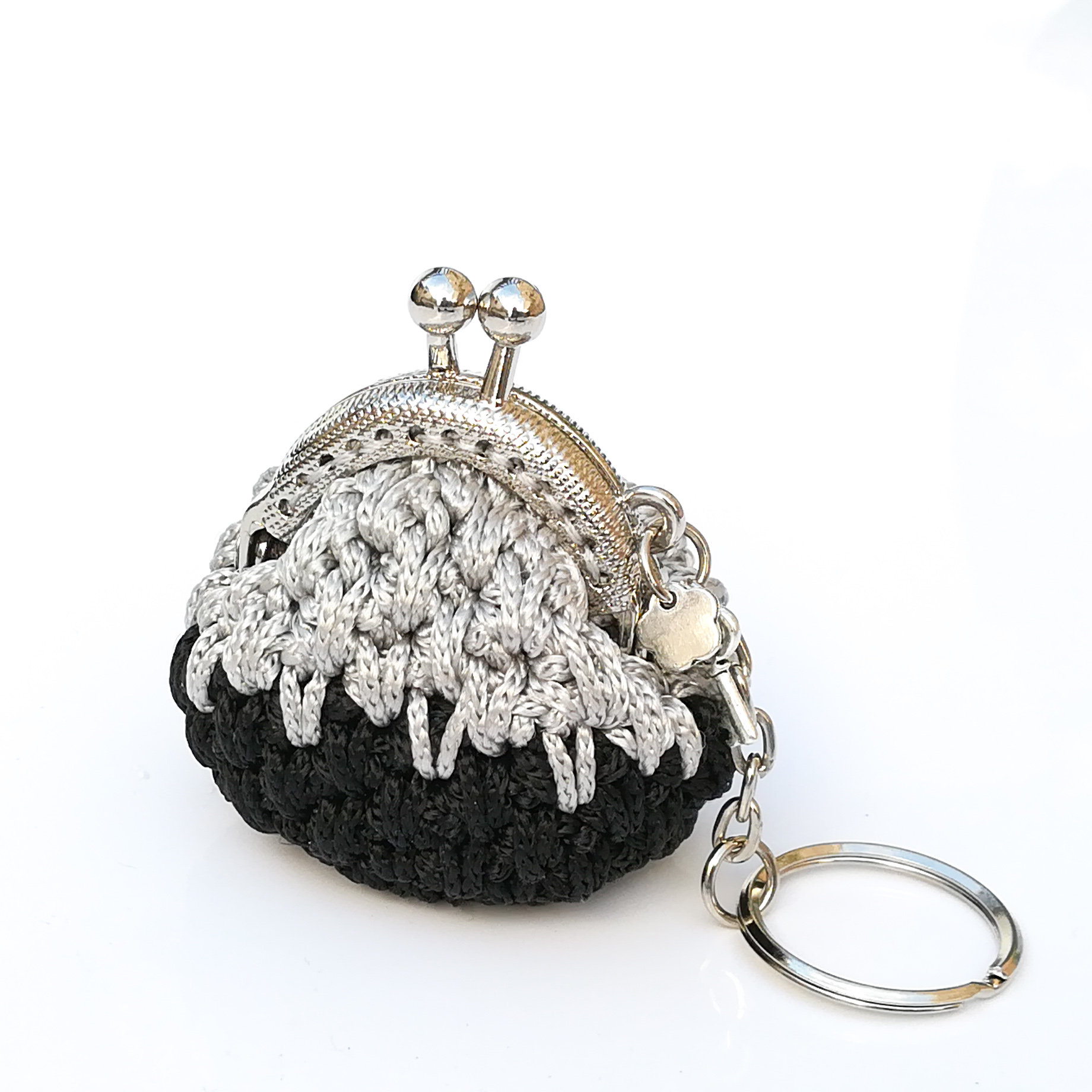 a2bddf405 keychain with black and silver crochet mini coin purse   Kelly's handmade