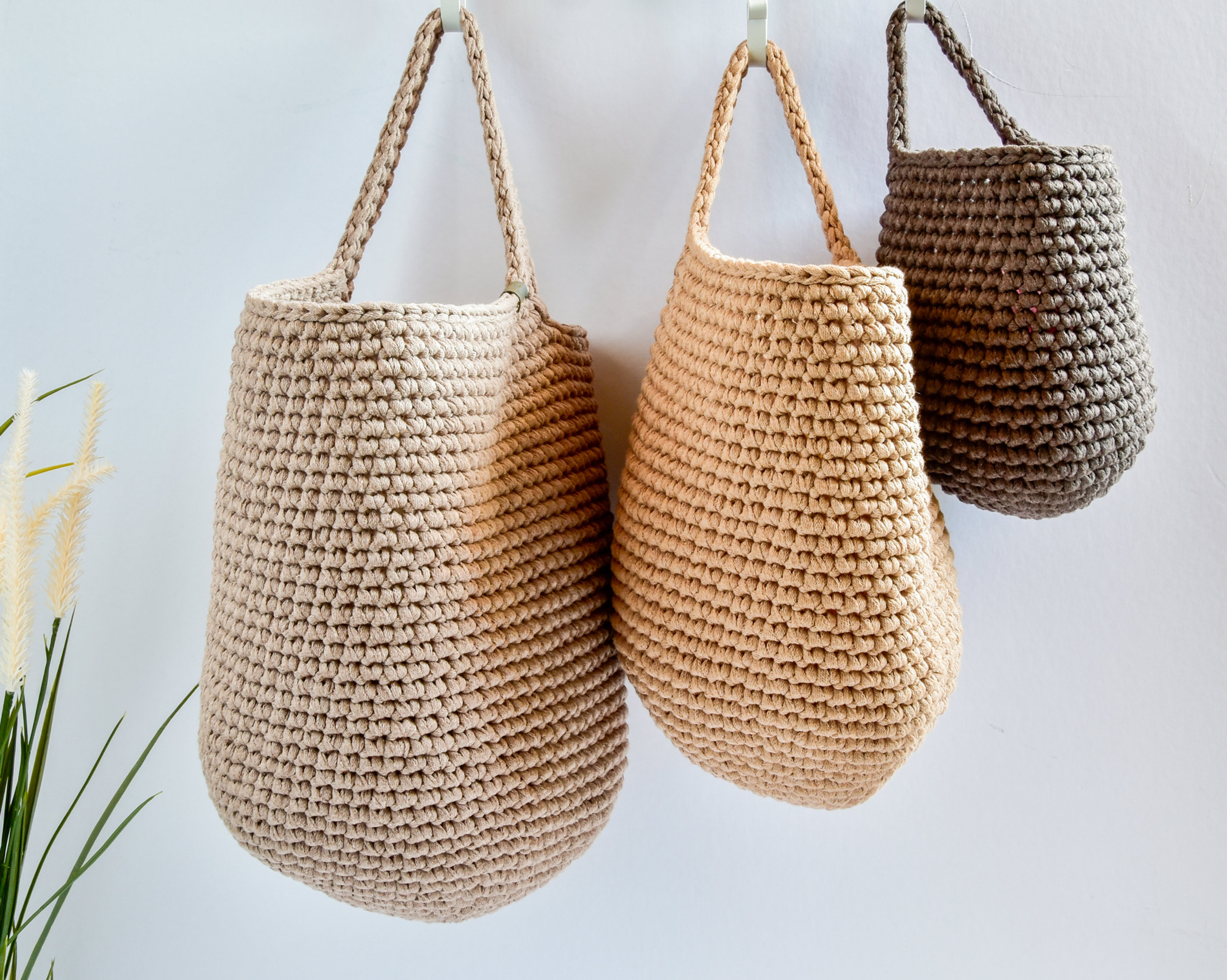 Wall Hanging Storage Basket Earthy Colors Crochet Hanging Basket Nursery Decor Kellys Handmade