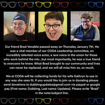 CODA donations for Brad Venable