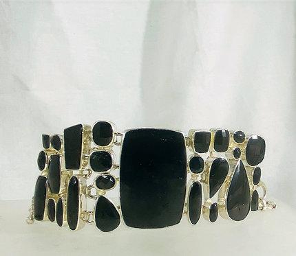 Faceted Onyx Bracelet on SS