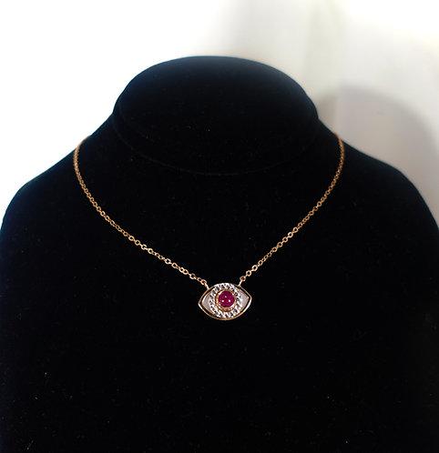 Ruby Evil Eye   Necklace - Diamonds 24kt Rose Gold