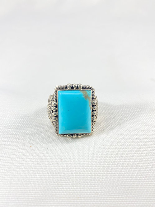 Native Am. Turquoise Sterling Ring w/ Accent