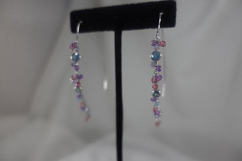 Lepidolite Aquamarine & Quartz Crescent Earrings