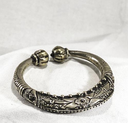 Silver Bangle - Floral Embellishment