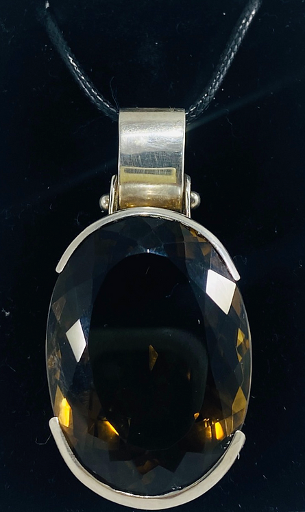 Faceted Citrine  Pendant - SS