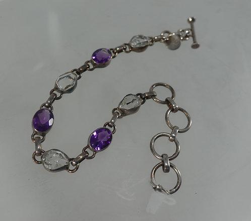 Amethyst & Herkimer Diamond Bracelet - SS
