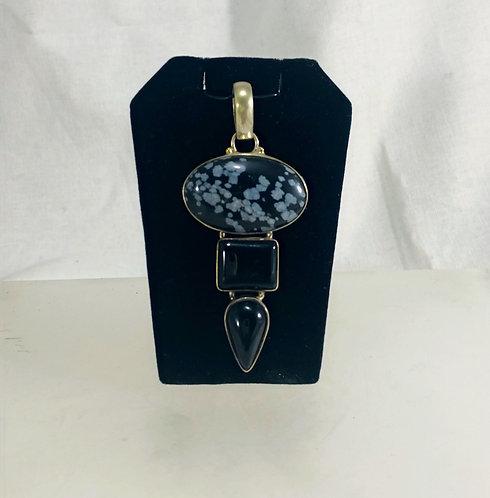 Snowflake Obsidian  on Silver Pendant