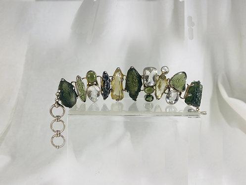 Moldavite & Meteorite with Quartz Bracelet