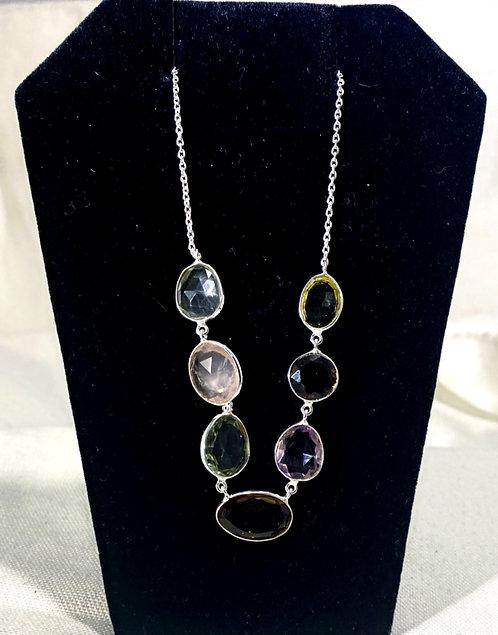 Faceted Smokey Quartz Multi-Stone Pendant Necklace on SS