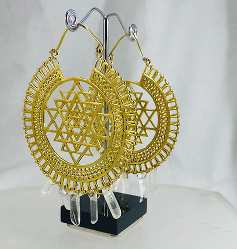 Quartz Point Sri Yantra Earrings - Gold Plated