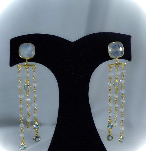 Faceted Moonstone Triple Drop Earrings