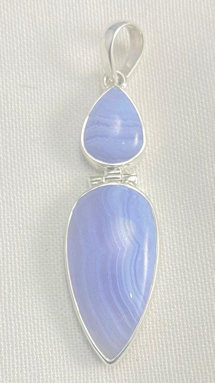 Blue Lace Agate Double Pendant