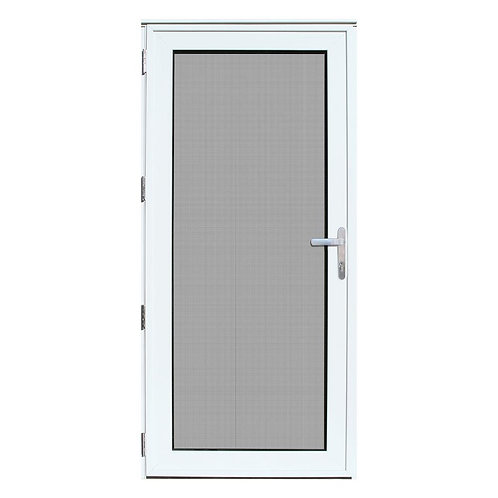 Unique Home Designs White Recessed Mount Meshtec Ultimate Security Door w/ Glass