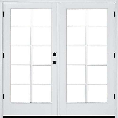 MP Doors Fiberglass Smooth Outswing Hinged French Patio Door w/ 10-Lite GBG