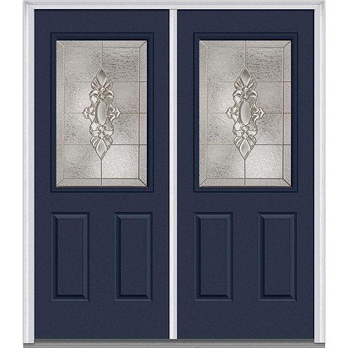MMI Door Heirloom Master 1/2-Lite 2-Panel Steel Prehung Double Front Door