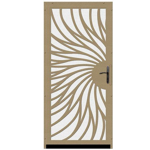 Unique Home Designs Solstice Security Door w/ White Screen & Bronze Hardware