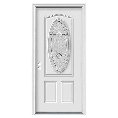 JELD-WEN 3/4 Oval Lite Duet Steel Prehung Exterior Door w/ Brickmould