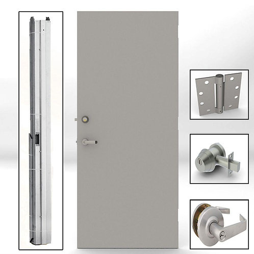 L.I.F Industries Flush Steel Prehung Commercial Security Unit with Hardware