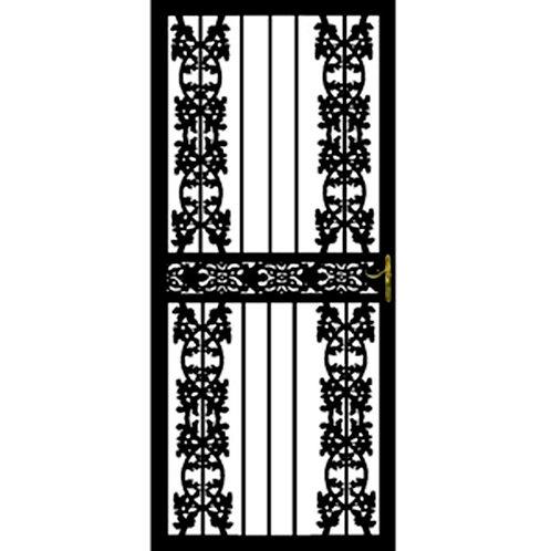 Grisham 116 Series Black Hampshire Security Door w/ Self-storing Glass Feature