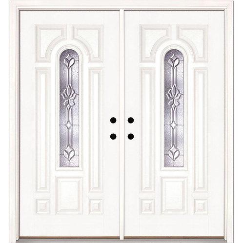 Feather River Doors Medina Zinc Center Arch Lite Fiberglass Prehung Double Door