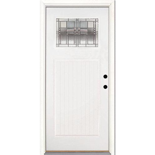 Feather River Monroe Zinc Craftsman Mahogany Prehung Fiberglass Exterior Door