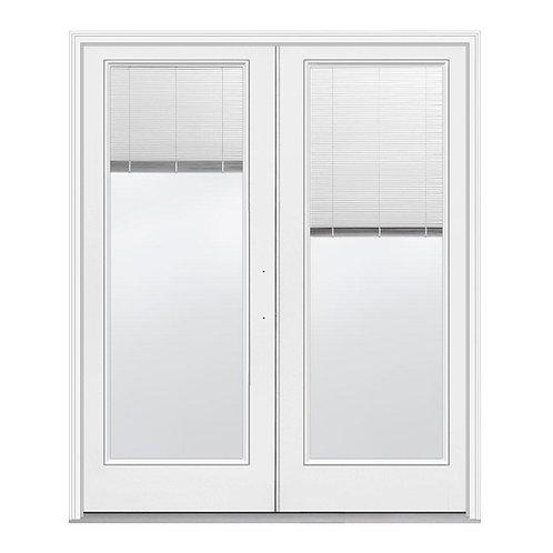 JELD-WEN Fiberglass Inswing Full Lite Glass w/ Blinds French Patio Door