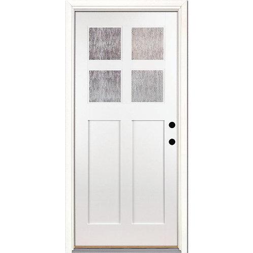 Feather River 4-Lite Cord Craftsman Teak Prehung Fiberglass Front Door