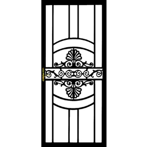 Grisham 137 Series Black Victoria Security Door w/ Self-storing Glass Feature