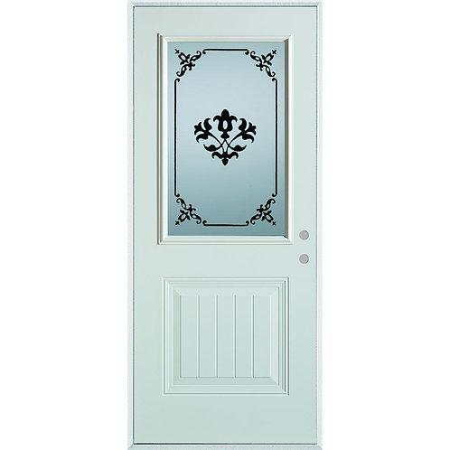 Stanley Doors Silkscreened Glass 1/2 Lite 1-Panel Steel Prehung Exterior Door