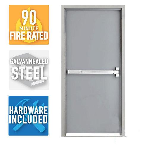 Armor Door Fire-Rated Prehung Commercial Door and Frame w/ Panic Bar & Hardware