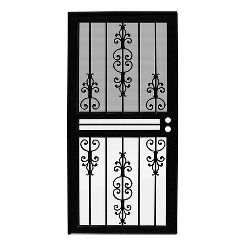 Unique Home Designs Estate Security Door w/ Insect Screen & Glass Inserts