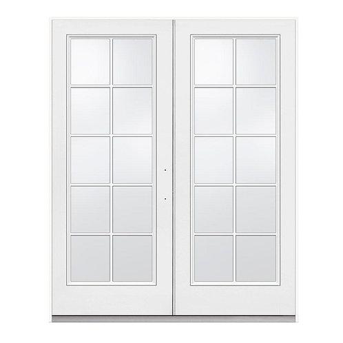 JELD-WEN Fiberglass Inswing 10-Lite Glass French Patio Door