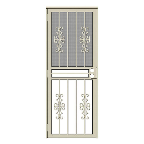 Unique Home Designs Watchman Duo Security Door w/ Insect Screen and Glass Insert