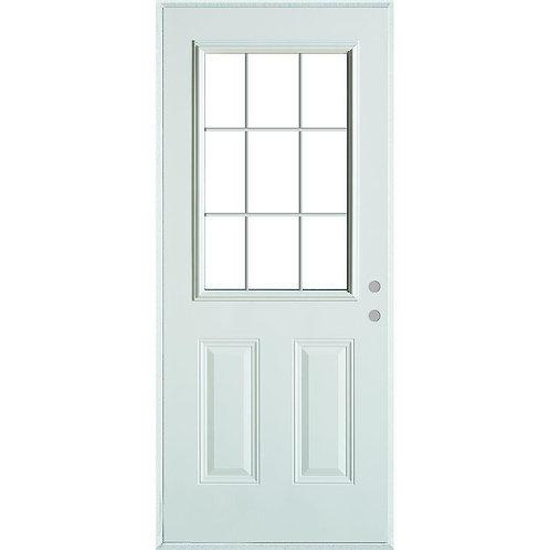 Stanley Doors Colonial 9 Lite Exterior Door w/ Internal Grille & Brickmould