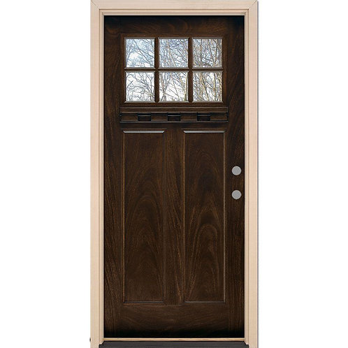 Feather River 6 Lite Craftsman Stained Prehung Fiberglass Exterior Door