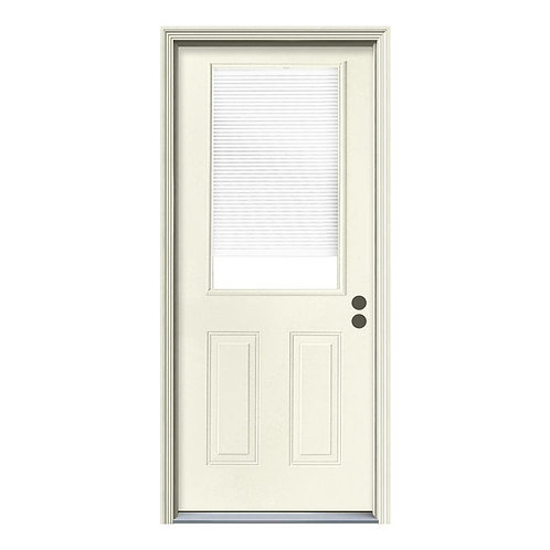 JELD-WEN 1/2 Lite Steel Prehung Exterior Door w/ Brickmould