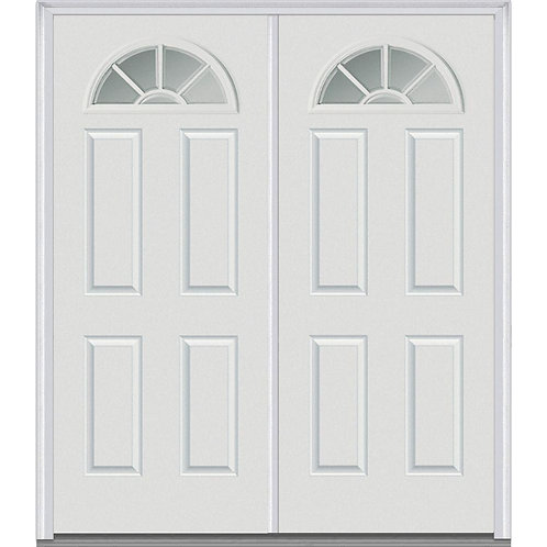 MMI Door Internal Grilles Fan Lite 4-Panel Steel Prehung Double Front Door