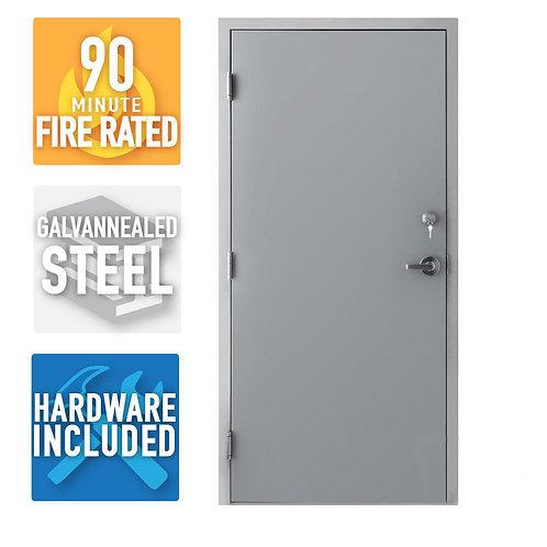 Armor Door Fire-Rated Steel Commercial Door (Welded Frame, Deadlock, & Hardware)