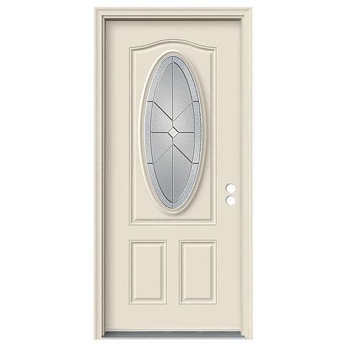 JELD-WEN 3/4 Oval Lite Intersect Steel Exterior Door w/ Brickmould