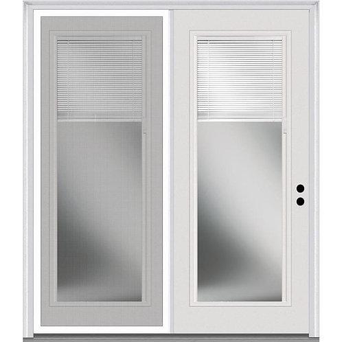 MMI Door Fiberglass w/ Blinds Center-Hinged Patio Door w/ Screen