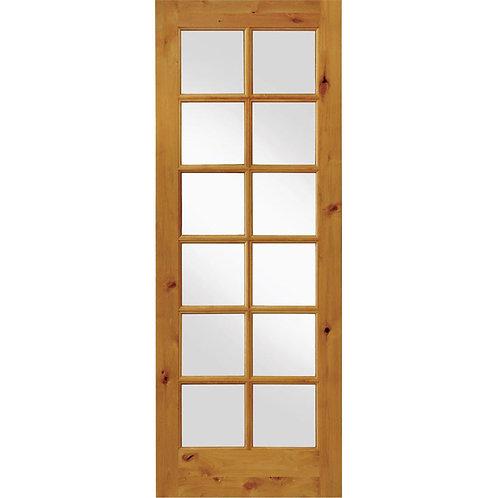 Krosswood Doors Rustic Knotty Alder 12-Lite Wood Interior Door Slab